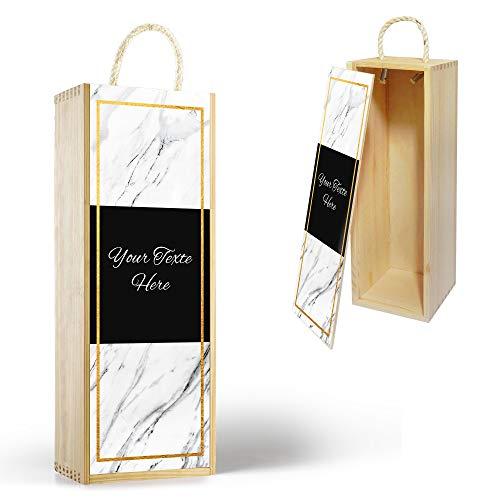 Gifty Lab Confezione da Vino o Bottiglia Personalizzata 'White Marble', Wine Box Scatola Porta Bottiglie da Vino, cod Des03