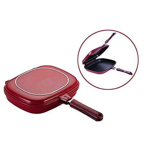 Nonstick Double Pan, Square Double-sided Portable BBQ Grill Pan, Frying Pan Flip Non-stick Omelette Pan For Home Kitchen, Restaurant, BBQ