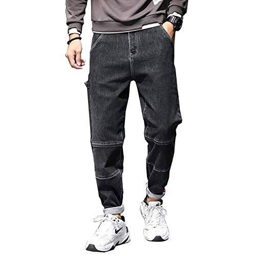 Jeans Pantalon Männer Jeans Haremshose Schwarz Stretch Baggy Tapered Fashion Taschen Streetwear Jeans Neu Jeans Man 33 Schwarz