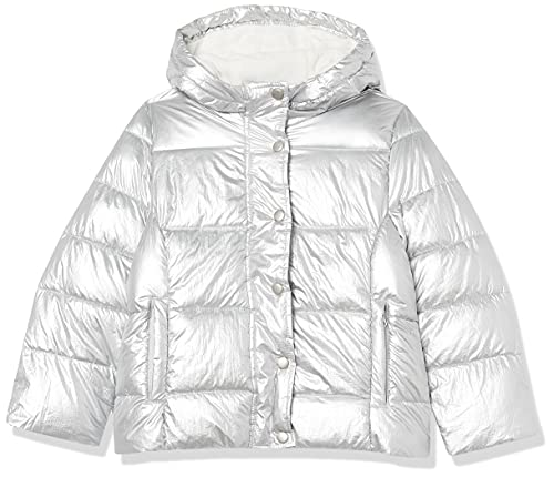 Amazon Essentials Heavy-Weight Hooded Puffer Jackets Giacca, Metallic Silver, 9-10 Anni