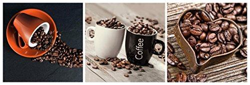 levandeo Glasbild 3er Set je 30 x 30 cm Wandbild Glas Küche Tasse Kaffeebohnen Coffee Herz Deko