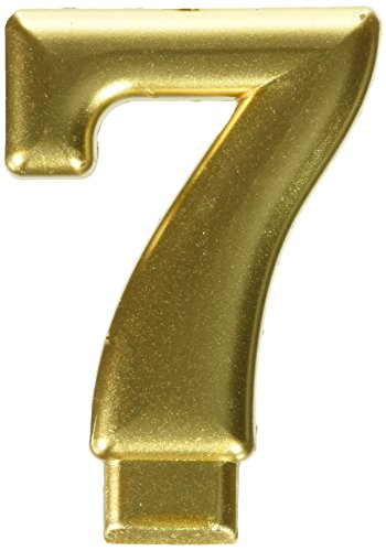 Amscan #7 Metallic Birthday Candle | Gold | Party Supply | 1 piece