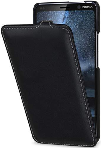 StilGut UltraSlim kompatibel mit Nokia 9 PureView Hülle aus Leder - Nokia 9 PureView Flip Hülle, Klapphülle, Handyhülle, Lederhülle - Schwarz Nappa