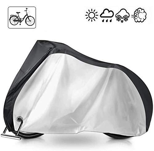 shangji Fahrradabdeckung wasserdichte Fahrradabdeckungen für die Außenlagerung Regenabdeckungen für Außenfahrräder mit Aufbewahrungstasche Anti-Staub-UV-Schutz für Fahrräder (Silver+Black)