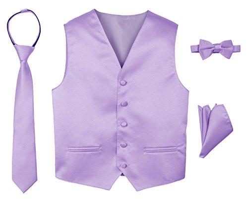 Spring Notion Boys' 4-Piece Satin Tuxedo Vest Set 10 Lilac
