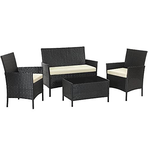 SONGMICS Gartenmöbel-Set aus Polyrattan, Lounge-Set, in Rattanoptik, Terrassenmöbel, Balkonmöbel, für Terrasse, Garten, Balkon, schwarz-beige GGF002B02