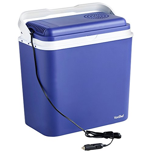 VonShef Electric Cool Box - Large 22L Insulated Cooler with 12V DC Car Adaptor - Ideal for Camping,...