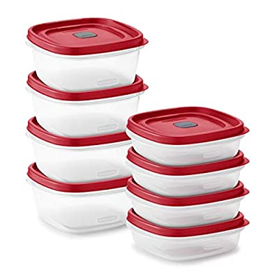 Rubbermaid Easy Find Vented Lids Food Storage, Set of 8 (16 Pieces Total) Plastic Meal Prep Containers, 8-Pack, Racer Red