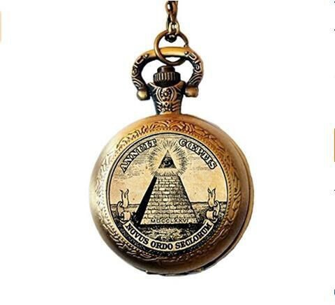 Vintage-Symbol Freimaurer Illuminati Antikdruck Illustration Poster Glas Taschenuhr Halskette
