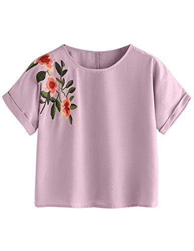 SweatyRocks Women's Casual Summer Tops Floral Embroidered Short Sleeve T Shirt Pink Large