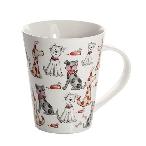 Taza de desayuno originales de café té con decoración de lindo perros, blanco para microondas, regalo para los amantes de los animales de perro