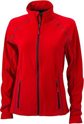 JN596 Ladies' Structure Fleece Jacket Leichte Outdoor-Fleecejacke, Größe:L;Farbe:Red-Carbon