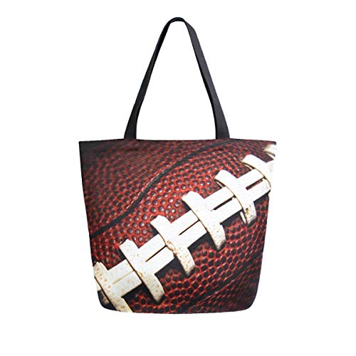 Naanle Sport Canvas Tote Bag Large Women Casual Schultertasche Handtasche American Football Spitze Wiederverwendbar Mehrzweck Heavy Duty Shopping Lebensmittel Baumwolle Tasche für Outdoor