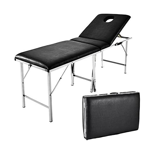 Lettino Massaggio,Lettini per Massaggi portatile, 3 Zone Pieghevole Lettini per Fisioterapia da Massaggi Regolabile in Altezza