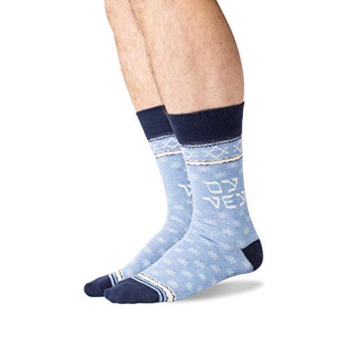 Hot Sox Men's Holiday Fun Novelty Crew Socks, Oy Vey (Blue Heather), Shoe Size: 6-12