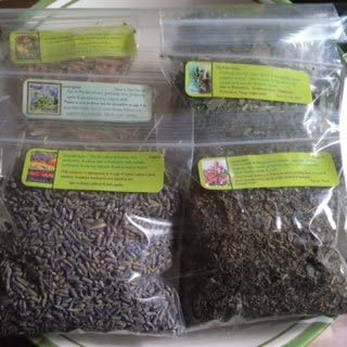 Herbal Sampler L ~ Lily of the Valley ~ Lovage Root ~ Lemongrass ~ Lemon Balm ~ Lavender ~ Lotus Leaf ~ 6 Dried Herbs 1/2 Ea ~ Ravenz Root Herbs with Special Info on Most Labels