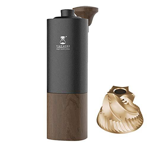 TIMEMOREG1PLUS手動コーヒーグラインダー、組み立てられたE&Bステンレス鋼チタンメッキコーンバー、容量25g、内部調整可能な粉砕厚さ、エスプレッソコーヒー(ネイビーブラック-G1PLUS)