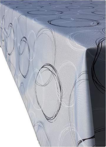 Valia Home Tischdecke Tischtuch Tafeldecke schmutzabweisend wasserabweisend Lotuseffekt pflegeleicht eckig für drinnen und draußen 140 x 240 cm grau