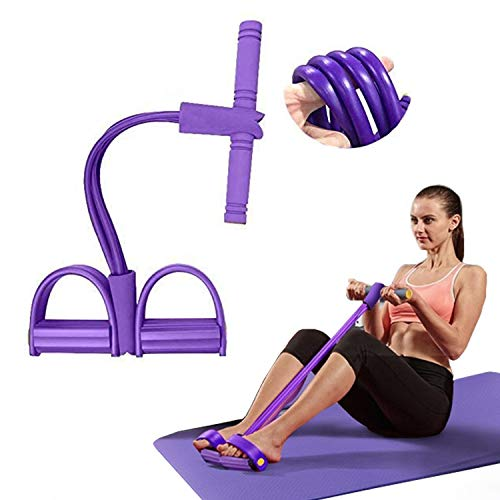 TRINE&MARE Pedal Resistance Band - 4 Tube Robust Arm Exercise Band | Easy to Use Multifunction Tension Rope for Core, Abdomen, Arm Leg Stretch Training | Pull Rope for Home Gym | Bodybuilding Expander
