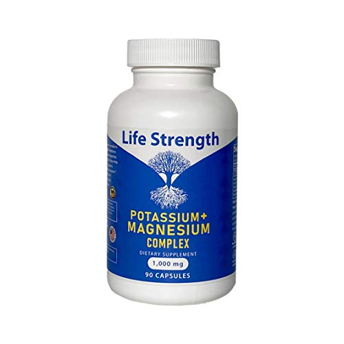 Life Strength Potassium Magnesium Complex 1000 MG 5 Form Magnesium Oxide Citreate Aspartate Glycinate and Gluconate Helps Sleep Leg Cramps Muscle Relaxation 90 CT