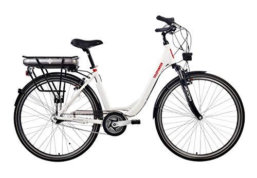 Telefunken E-Bike Elektrofahrrad Alu, weiß, 7 Gang Shimano Nabenschaltung - Pedelec Citybike leicht, Mittelmotor 250W und 10Ah/36V Lithium-Ionen-Akku, Reifengröße: 28 Zoll, Multitalent C750*