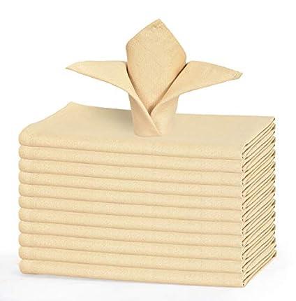 GLAMBURG Juego de 12 servilletas de algodón, servilletas de Tela 46x46 Cm, servilletas de cóctel Suaves y cómodas, servilletas de Boda, servilletas navideñas, Lavables a máquina - Beige