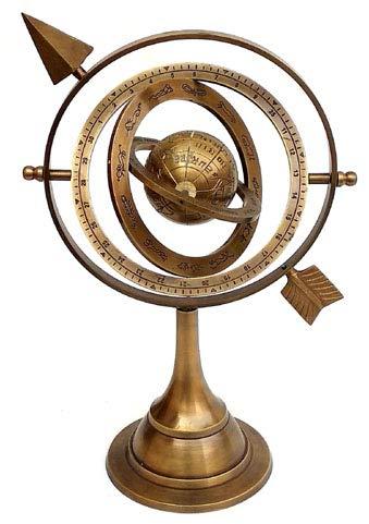 Hanzla Collection 11' Antique Brass Armillary Sphere with Sundial Arrow 10.5' Nautical Maritime Astrolabe Engraved Globe