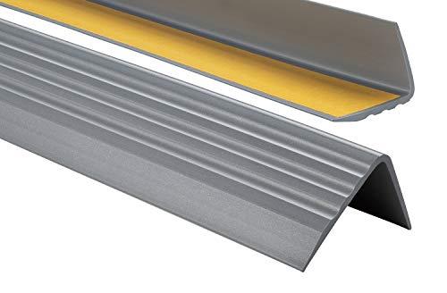 Nez de marche profil d'angle PVC autoadhésif 50x40mm antidérapant, d'escalier-protection, bande de bordure, 130cm, Argenté