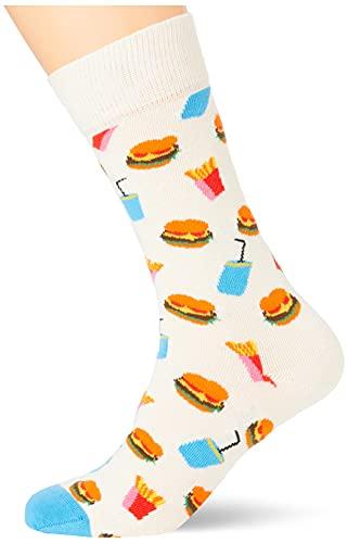 Happy Socks Unisex Hamburger Socken, White, 4-11 (Size:41-46)