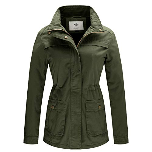 WenVen Women's Spring Military Utility Safari Outwear Jackets(Army Green, S)