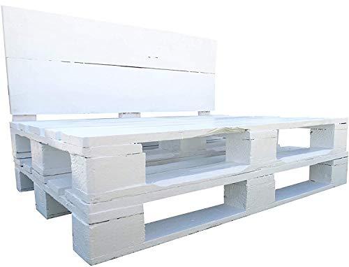 1 x Estructura de Sofá Hecha con Palets Europeo - Color Blanco, Para Interior o Exterior para Salon, Cocina, Patio, Terrazas, Jardín - Muebles con palets