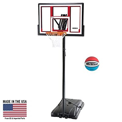 Lifetime 90491 Portable Basketball System, 48 Inch Shatterproof Backboard w/Basketball Included