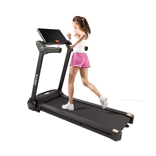 woman running on a zelus 2hp folding treadmill