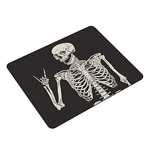Square Mouse Pad Gaming, Black Cool Mouse Desk Mat, Non-Slip Keyboard Mouse Mat Desk Pad for Work Game Office Home Personalized Design,Rock and Roll Skeleton Skull Boho Hippie Mouse Pad