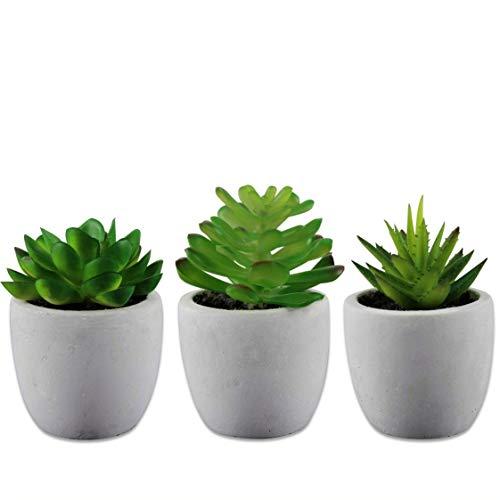 mokinu® - Künstliche Sukkulenten 3er Set Pflanzen mit echtem Beton Topf - dekorative Kunst-Blumen für Wohnzimmer Schlafzimmer Küche Büro Tisch-Deko