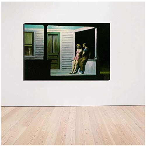 Edward Hopper Summer Evening Wall Art lienzo pintura carteles impresiones pintura pared cuadros para sala de estar decoración del hogar-50x75cm sin marco
