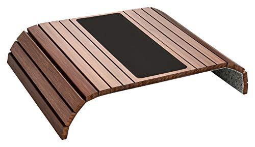 Green'n'Modern braunes Sofatablett aus Holz Bambus mit Pad | Holztablett als Auflage Sofaauflage für Sofa und Sitzmöbel Ablagefläche | Armlehnentablett Sofamatte kastanienbraun