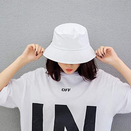 Black White Solid Bucket Hat Unisex Caps Hip Hop Men women Summer Cap Beach Sun Fishing Hat-White
