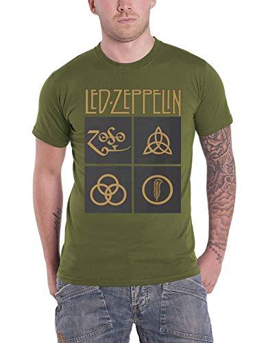 Led Zeppelin Ledzeppelin_Gold Symbols In Square_Men_Green_TS: S Camiseta, Negro (Black Black), Small para Hombre