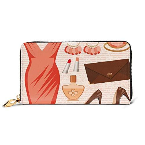 Women's Long Leather Card Holder Purse Zipper Buckle Elegant Clutch Wallet, Accessories Fashion Cocktail Dress Lipstick Earrings High Heels,Sleek and Slim Travel Purse
