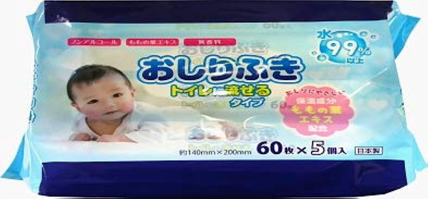 シャツ覚醒お祝い昭和紙工 流せる赤ちゃんのおしりふき 60枚 5個パック