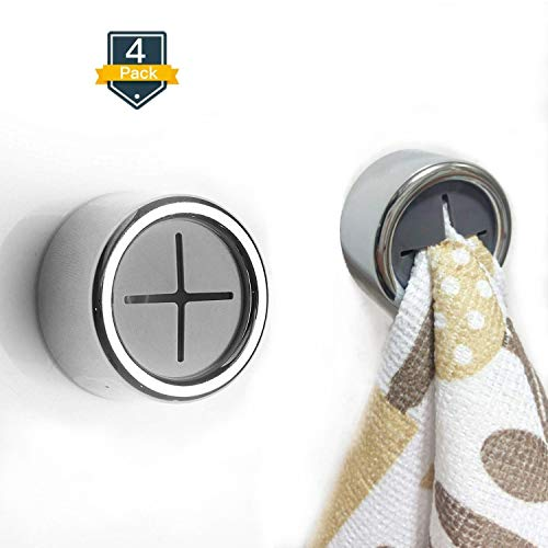 Kitchen Towel Hooks 4 pack - Self Adhesive & Easy Installation - Premium Chrome Finish - Strong Hold & Easy Removal - Modern Design & Innovative - Easy and Ideal Towel Holders for the Bathroom, Shower