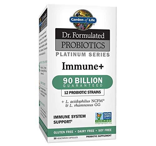 Garden of Life Dr. Formulated Probiotics Platinum Series Immune+ 90 Billion CFU Guaranteed, One a Day Probiotic Supplement Acidophilus & Rhamnosus, Vegan, Non-GMO Immune System Support, 30 Capsules