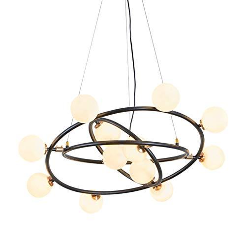 LG Snow Anillo estilo industrial personalidad creativo salón comedor dormitorio lámpara bola de vidrio hierro forjado lámpara/araña d78cm