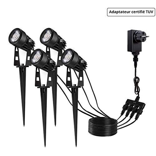 Eclairage Exterieur de Jardin, GreenClick Spot LED Extérieur à Piquer et  IP65 Etanche 3000K Blanc Chaud 12W 1080 Lumens Lampe LED Extérieur pour ...