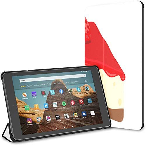 Estuche para Pastel de Fresa Yummy Tasty Dessert Fire HD 10 Tablet (9.a / 7.a generación, versión 2019/2017) Estuche Resistente al Agua para Kindle Estuche para Kindle Fire Auto Wake/Sleep para Tab