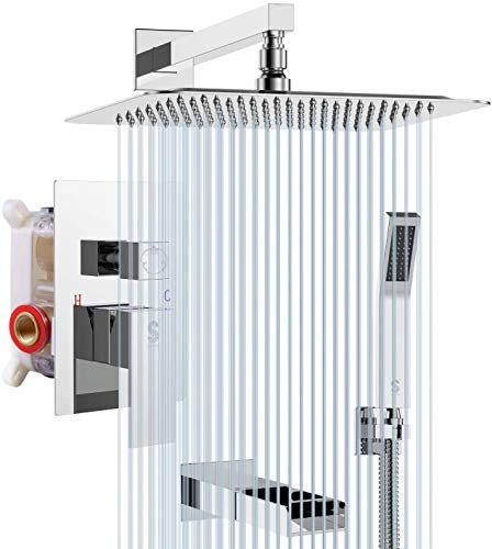 SR SUN RISE Tub Spout Shower System Combo Set with 12 Inch Rain Shower Head and Handheld Shower Head Wall Mounted Rainfall Shower Head System Polished Chrome (Contain Rough-in Valve Body and Trim)