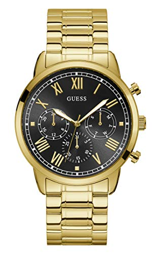 GUESS Men's 44mm Gold-Tone Steel Bracelet & Case Quartz Black Dial Analog Watch W1309G2