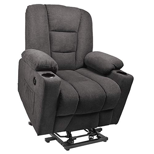 Maxxprime Free Moving Electric Power Lift Recliner Chair Sofa with Massage & Heating for Elderly, Comfortable Design, 3 Positions, 2 Side Pockets & Cup Holders, USB Ports (Brown)