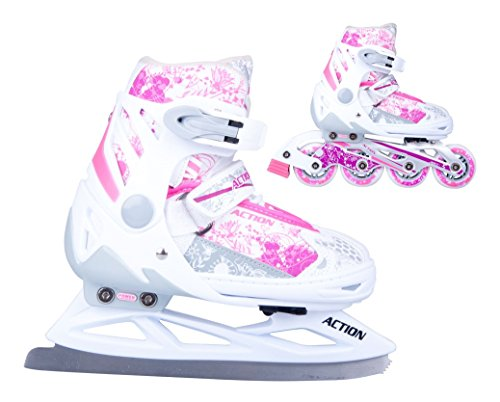 2in1 Schlittschuhe Inliner Pinkola ABEC5 pink weiß Gr. 31-34, 35-38, 39-42 verstellbare Mädchen Skates (35-38)